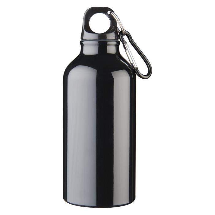Gourde en aluminium | Mousqueton | 350 ml | 92100002 Noir